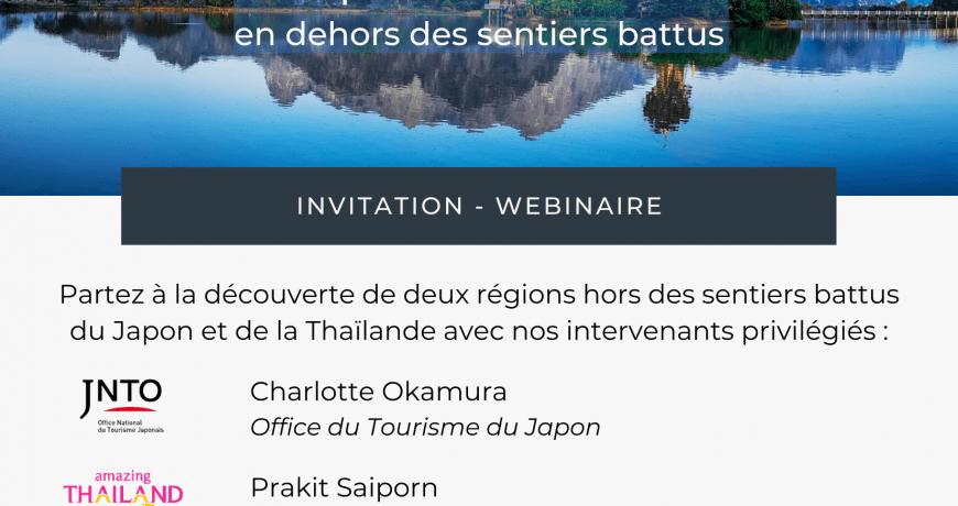 Rendez-vous le 9 mars à 10H00 pour notre webinaire pour découvrir des régions du Japon et de la Thaïlande hors des sentiers battus